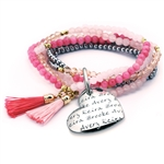 Vesta Mother's Heart Rubino Tassel Bracelet