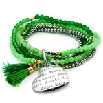 Vesta Mother's Heart Smeraldo Tassel Bracelet