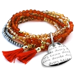 Vesta Mother's Heart Topazio Tassel Bracelet