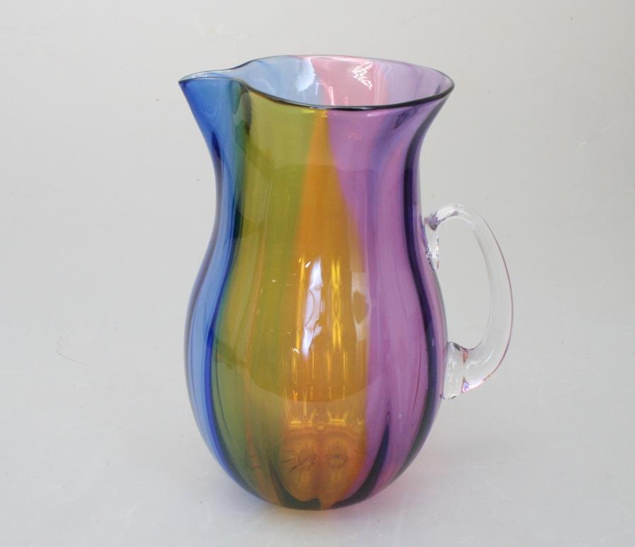 Four Color Blown Glass Pitcher