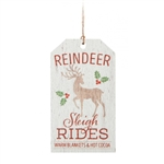 Reindeer Sleigh Rides Tag Ornament