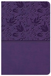 KJV Large Print Compact Reference Bible - Purple with Floral Design