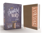NIV Beautiful Word Bible: 600+ Full-Color Illustrated Verses, Updated Edition with Peel/Stick Bible Tabs - Brown/Pink, Comfort Print (Red Letter Edition)