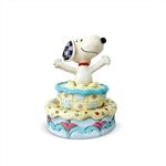 "Peanuts - ""Surprise!"" Snoopy Jumping Out Birthday Cake Figurine"