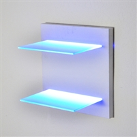 "Lighted Shelving on a hand-built turn key wooden frame. Created to order, quality mill work. (2) 30"" wide, 8"" deep even illuminated glass LED shelves."