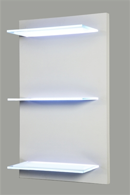 "Lighted Shelving on a hand-built turn key wooden frame. Created to order, quality mill work. (3) 24"" wide, 8"" deep even illuminated glass LED shelves."