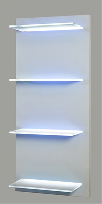 "LED Lighted Shelving on a hand-built turn key wooden frame. Created to order, quality mill work. (4) 30"" wide, 8"" deep even illuminated glass LED shelves."