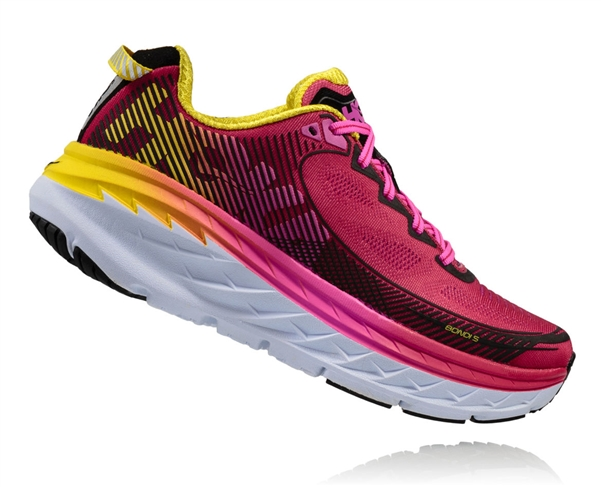 Womens Hoka BONDI 5 Road Running Shoes - Virtual Pink / Blazing Yellow