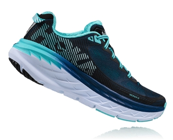 Womens Hoka BONDI 5 WIDE Road Running Shoes - Medieval Blue / Blue Radiance