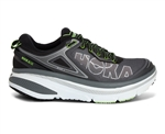 Mens Hoka BONDI 4 Road Running Shoes - Black / Grey / Green Flash