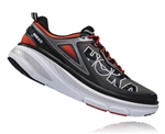 Mens Hoka BONDI 4 Road Running Shoes - Grey / Orange Flash