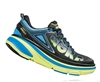 Mens Hoka BONDI 4 Road Running Shoes - Black / Cyan