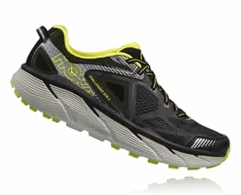 Mens Hoka CHALLENGER ATR 3 Trail Running Shoes - Black / Bright Green / Citrus