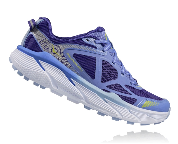 Womens Hoka CHALLENGER ATR 3 Trail Running Shoes - Persian Jewel / Green Glow
