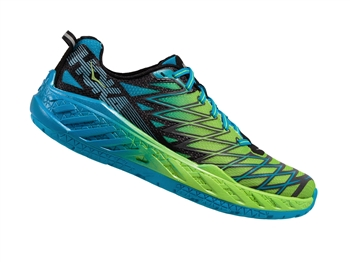 Mens Hoka CLAYTON 2 Road Running Shoes - Bright Green / Black / Blue