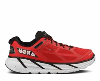 Mens Hoka CLIFTON Road Running Shoes - True Red / Black