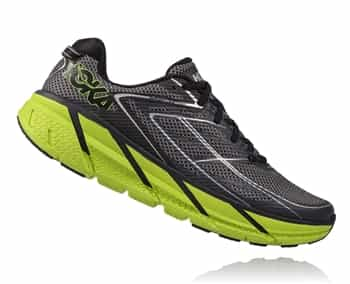 Mens Hoka CLIFTON 3 Road Running Shoes - Blue Graphite / Bright Green