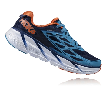 Mens Hoka CLIFTON 3 Road Running Shoes - Medieval Blue / Red Orange