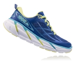 Womens Hoka CLIFTON 2 Road Running Shoes - True Blue / Sunny Lime
