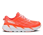 Womens Hoka CLIFTON 2 Road Running Shoes - Neon Coral / White