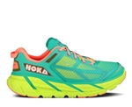 Womens Hoka CLIFTON Road Running Shoes - Acid / Aqua / Neon Coral