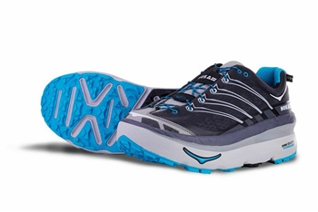 Mens Hoka MAFATE 3 Running Shoes - Anthracite / White / Cyan