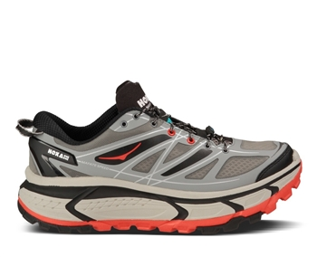 Mens Hoka MAFATE SPEED Trail Running Shoes - Grey / Black / Red