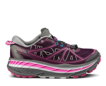 Womens Hoka STINSON ATR Trail Running Shoes - Plum / Grey / Fushia
