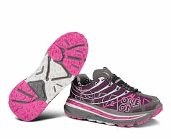 Womens Hoka STINSON TRAIL Running Shoes - Plum / White / Fushia