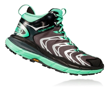 Womens Hoka TOR SPEED 2 WP Mountain Running Shoes - Dark Shadow / Mint Green