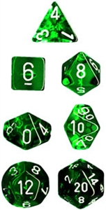 Green Translucent Dice Set 4/6/8/10/10s/12/20 - 7 Dice