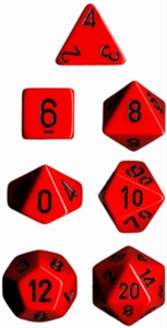 Red w/black Opaque Dice Set 4/6/8/10/10s/12/20 - 7 Dice