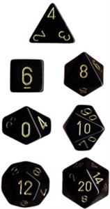 Black w/gold Opaque Dice Set 4/6/8/10/10s/12/20 - 7 Dice