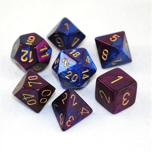 Gemini™ Blue-Purple w/gold Dice Set 4/6/8/10/10s/12/20 - 7 Dice