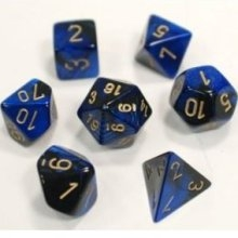 Gemini™ Black-Blue w/gold Dice Set 4/6/8/10/10s/12/20 - 7 Dice