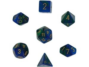 Gemini™ Blue-Green w/gold Dice Set 4/6/8/10/10s/12/20 - 7 Dice