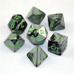 Gemini™ Black-Grey w/green Dice Set 4/6/8/10/10s/12/20 - 7 Dice