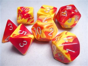Gemini™ Red-yellow w/silver Dice Set