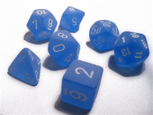 Frosted™ Blue w/white Dice Set