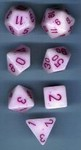 Pink & White Dice Set 4/6/8/10/10s/12/20 - 7 Dice