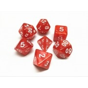Red pearl dice set  4/6/8/10/10s/12/20 - 7 Dice