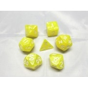 Yellow pearl dice set 4/6/8/10/10s/12/20 - 7 Dice