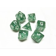 Green glitter dice set 4/6/8/10/10s/12/20 - 7 Dice