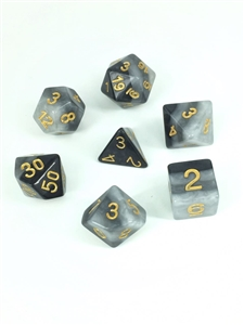 Grey Gradients dice set 4/6/8/10/10s/12/20 - 7 Dice