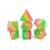 (Rose Red+Yellow+Green) Layer dice Set   4/6/8/10/10s/12/20 - 7 Dice