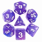 (Blue + Purple) Galaxy dice set  4/6/8/10/10s/12/20 - 7 Dice
