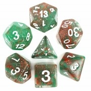 (Red + Green) Galaxy dice set  4/6/8/10/10s/12/20 - 7 Dice