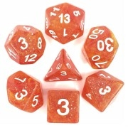 (Yellow + Red) Galaxy dice set  4/6/8/10/10s/12/20 - 7 Dice