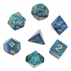 (Blue+Green) galaxy dice set 4/6/8/10/10s/12/20 - 7 Dice