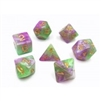 (Purple+Green+White) Marble dice 4/6/8/10/10s/12/20 - 7 Dice